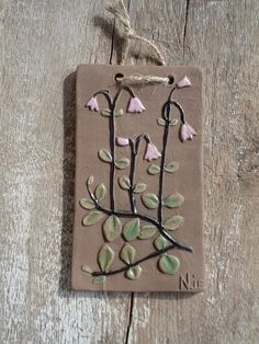 Swedish Vintage Ceramic Wall Plaque / Ceramic Tile with Linnea