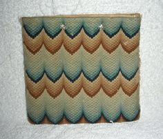 An early 19th century (perhaps a bit earlier) Flame Stitch Purse or Pocket Book with very unusual colors: blue and salmon. I believe this to be a