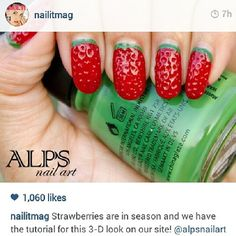 Strawberry Nail Art. Red and Green nails