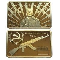 Wish | Authentic Soviet Union Army Military Drop Case Kalashnikov Father of the AK-47 Gold Bullion Bar Collections (Size: 44mm by 28mm by 3mm, Color: Gold)