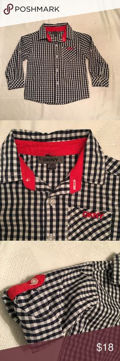 Boys Button Down button down with roll up sleeves  red, navy, and white! Dkny Shirts & Tops Button Down Shirts
