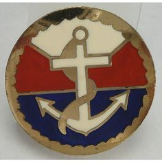 Vintage Nautical Anchor Red White Blue Brooch Enamel Pin (1.015 RUB) ❤ liked on Polyvore featuring jewelry, brooches, vintage broach, polish jewelry, vintage jewellery, vintage jewelry and anchor jewelry