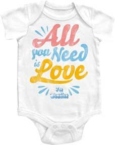 Beatles All You Need Is Love White One Piece by My Baby Rocks - gender neutral baby clothes
