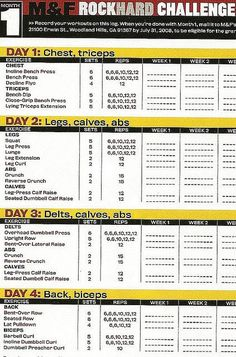 Muscle & Fitness Rock Hard Challenge Training Log 2008 Month 1
