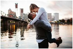 Portland engagement photos along the Willamette river and eastbank esplanade at sunset.