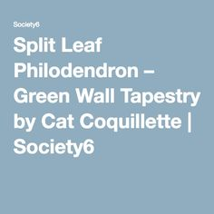 Split Leaf Philodendron – Green Wall Tapestry by Cat Coquillette | Society6