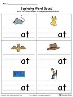 **FREE** Beginning Word Sound: AT Words in Color Worksheet.Topics: Word Families, Reading, and Phonics. English Worksheets For Kindergarten, Kids Math Worksheets, Kindergarten Learning, Lkg Worksheets, Preschool Phonics, Phonics Activities, Jolly Phonics, Teaching Phonics, Family Worksheet