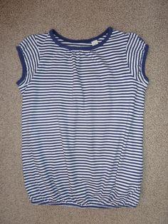 Girls French Designer Okaidi Navy Blue & White Stripe T-Shirt Top, Size 8