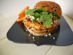 Buffalo Turkey Burgers (only 177 calories each).  Spicy PLUS blue cheese?  Andy would love 'em.