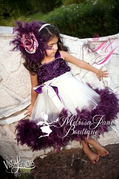 Plum Devine Girls Rosette Fluffy Dress by sharpsissors on Etsy