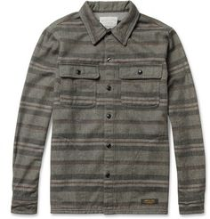 Neighborhood Striped Woven-Wool and Cotton-Blend Overshirt | MR PORTER
