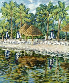 Buccaneer Island by Danielle Perry ~ tropical acrylic art ~ tiki umbrellas palms beach Danielle Perry, Umbrella Painting, Tropical Art, Sky Art, Beach Art, Fine Art America, America America, Acrylic Art