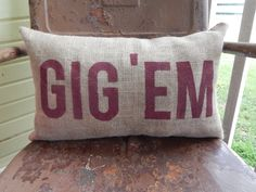 Gig 'em decorative throw pillow by TakeFlyteFarm on Etsy