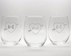 Engraved Personalized Stemless Wine Glass - Heart Arrow Monogram - 15oz - Etched Glass Wedding Gift