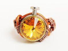 bullet casing ring steampunk jewelry swarovski crystal  by keoops8, $36.00 Steampunk ringa