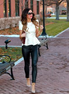 Peplum top + Skinny leather pants + neutral pump... I love it! Looks like these pants are leather in the front & a different fabric or texture in the back!