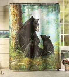 bear decor    com black bear lodge bathroom shower accessories