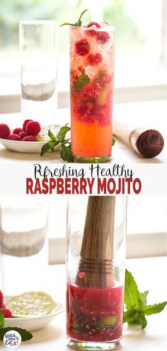 Quick & easy non-alcoholic Raspberry Mojito Recipe - make this delicious mocktail using fresh raspberries, lime, mint, and sparkling apple cider. It will make you crave for more. Easy Mocktail Recipes, Healthy Cocktails, Healthy Juice Recipes, Drinks Alcohol Recipes, Healthy Juices, Yummy Drinks, Smoothie Recipes, Healthy Mojito Recipe, Easy Mocktails