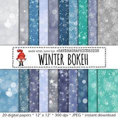 """Bokeh digital paper: """"WINTER BOKEH"""" , bokeh overlays, bokeh effect, digital paper in winter colors, photography backdrop (1181)"""