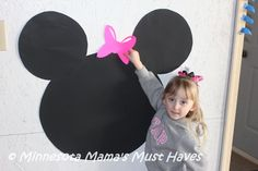 Here is an easy DIY Minnie Mouse Birthday Party Games! Pin The Bow on Minnie Mouse! This was so cute and doubled as a decoration.