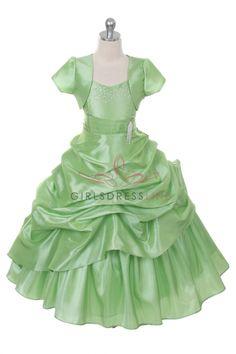 Sage Extravagent Taffeta Pick-Up Dress with Marching Bolero Jacket CB-0308-SG on www.GirlsDressLine.Com