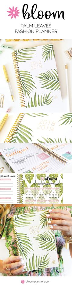 Palm Leaves 2018-19 Daily Planner! #BloomPlanners #BloomPlanner #BloomDailyPlanners #Calendar #BloomGirl #Planner #Plan #Organization #Inspiration #PlannerAddict #PlannerLove #PlannerCommunity #BloomWhereYouArePlanted #PlanToBloom Bloom Planner, Bloom Fashion, Bloom Where You Are Planted, Palm, Calendar, Leaves, Organization, Table Decorations, Inspiration