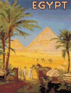Cross stitch pattern Vintage Egypt travel poster PDF - New EASY chart with one color per sheet AND regular chart! Two charts in one! by HeritageCharts on Etsy
