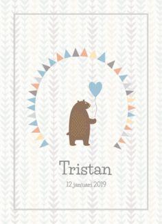 Hip geboortekaartje voor de geboorte van een jongen. Een leuke kaart met lieve beer die een ballon vasthoudt.