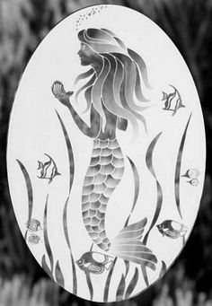 - So Beautiful as a Shower Door Decal. The mermaid decals cling can be used on windows, glass tables, cabinet doors and mirrors. Static cling decal! No messy residue from harsh adhesives! - Easily removable and respositionable. - Clings to any smooth glass or plastic surface. - Product Is Offered In Various Sizes - Some sizes now available in a reverse pattern that highlights the mermaid on a clear background. Inexpensive, easy to apply alternative to real etched glass windows. - Note: There is  Frosted Glass Sticker, Frosted Glass Door, Glass Bathroom, Glass Shower Doors, Glass Doors, Etched Glass Windows, Glass Etching Stencils, Mermaid Glass, Glass Wall Art