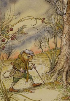 Original illustration by Charles van Sandwyk entitled 'Ratty off to the Wold Wood'. Illustration for the 'Wind in the Willows', published by 'The Folio Society', 2005.