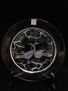 Lalique France Crystal Plate Deux Oiseaux Two Birds 1965 Mint w/ Box