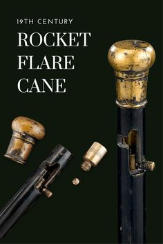 This extremely rare cane has the ability to fire a rocket flare into the  sky with the flick of a button. The wood shaft and brass knob handle  contain the firing mechanism and a percussion cap, allowing this cane to  be used as both a weapon for blinding an opponent or as a means to call  for help. Extra percussion cap and flare included. ~ M.S. Rau Antiques