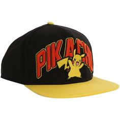 Pokemon Pikachu Snapback Ball Cap | Hot Topic ($27) ❤ liked on Polyvore featuring accessories, hats, snapback hats, ball hats, snap back caps, embroidered ball caps and snapback cap