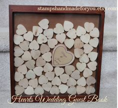 Shadow box wedding guest book and Unique by stampshandmadeforyou, $150.00
