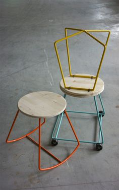 Moschettieri Stool Series by collective Diy Furniture Projects, Table Furniture, Modern Furniture, Furniture Design, Welding Design, Coffee Chairs, Office Table Design, Industrial Stool, Iron Decor