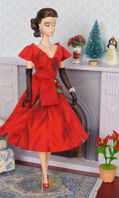 Blooming Poinsettia for Silkstone Barbie by HankieChic on Etsy