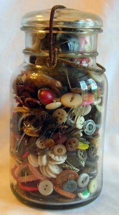 Vintage Button Filled Ball Jar by VictorianCobweb on Etsy, $35.00