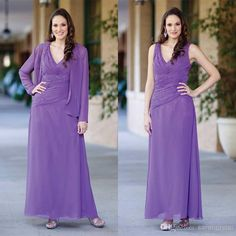 Wholesale Mother of the Bride Dresses - Buy 2014 Plus Size Mother of The Bride Groom Sexy Pant Suits Beaded Chiffon Evening Dress Gowns Long Sleeve With Jacket Cheap Dresses Purple New, $114.98   DHgate