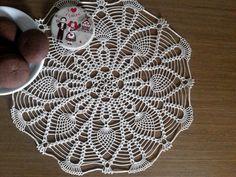 Crochet doily lace round doily ecru table topper by EstersDoilies #lace #crochet #doily