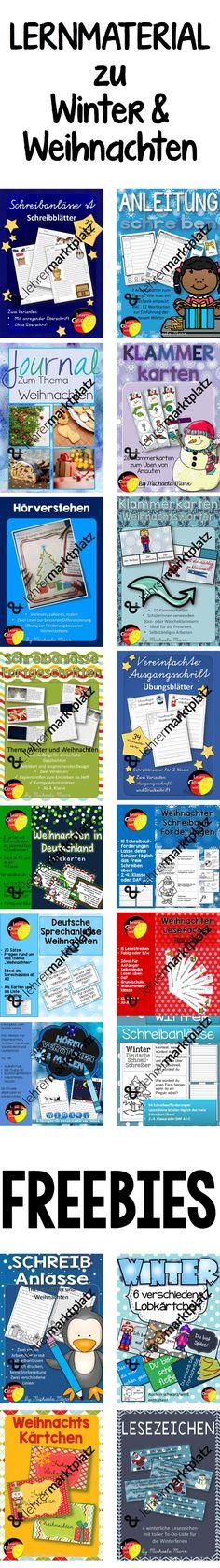Eine sammlung von vielen Unterrichtsmaterialien rund um das Thema Weihnachten und Winter. Schreibanlässe, Vorgangesbeschreibung, Schreibschrift üben, Alphabetsierung, Lobkärtchen und vieles Mehr. Auch kostenlose Materialien zu Winter und Weihnachten