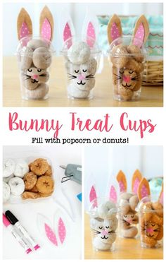 These bunny treat cups are made out of to go cups! Decorate with felt and paint … These bunny treat cups are made out of to go cups! Decorate with felt and paint pens then fill with mini donuts or popcorn! Perfect for parties! Bunny Party, Easter Party, Easter Gift, Easter Bunny, Easter Snacks, Easter Treats, Easter Desserts, Party Desserts, Breakfast Party Decorations