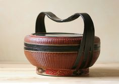 antique chinese woven basket / wedding basket / handpainted asian motif.