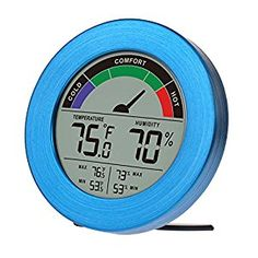 Amazon.com : Thermometer & Hygrometer Weather Station with Color Comfort Meter in Metal Casing (BLUE) : Patio, Lawn & Garden