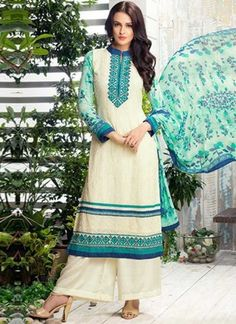 Beige Embroidery Work Georgette Designer Party  Wear Print Pakistani Suit http://www.angelnx.com/Salwar-Kameez