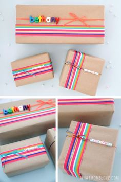 Make your kids' presents extra special with these fun & creative gift wrapping ideas. Easy DIYs for how to wrap and personalize a gift with photos, name or favorite things. #giftideas #homemade Presents For Kids, Kids Gifts, Craft Gifts, Fun Gifts, Diy Gifts For Christmas, Christmas Gift Wrapping, Handmade Christmas, Creative Gift Wrapping, Creative Gifts