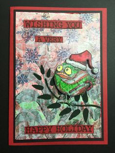 Crazy bird Christmas card with a Gelli plate background.