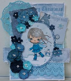 PASSION FOR PROMARKERS CHALLENGE #409: MONOCHROME: Ppinkydolls digi called Playing With The Snow; Spellbinders die cut frame around her; papers are from the KaiserCraft Frosted pack; Bo Bunny lace; 49 and Market flowers