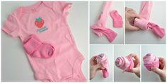 Babyparty Geschenke anleitung-cupcake-pink-strampelanzug-selber-machen-babysoeckchen-maedchen
