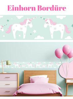Einhorn Tapete / Bordüre: Bordüre Selbstklebend EINHORN ROSA/MINT    Wandbordüre Kinderzimmer / Babyzimmer