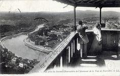 Vue prise du Sommet Observatoire de l'Ascenseur de la Tour de Fourvière. Haut. de la Tour au dessus du sol : 85 mètres. De la Saône : 212 mètres. De la mer : 376 mètres.